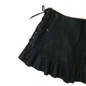 zara • faux leather mini skirt